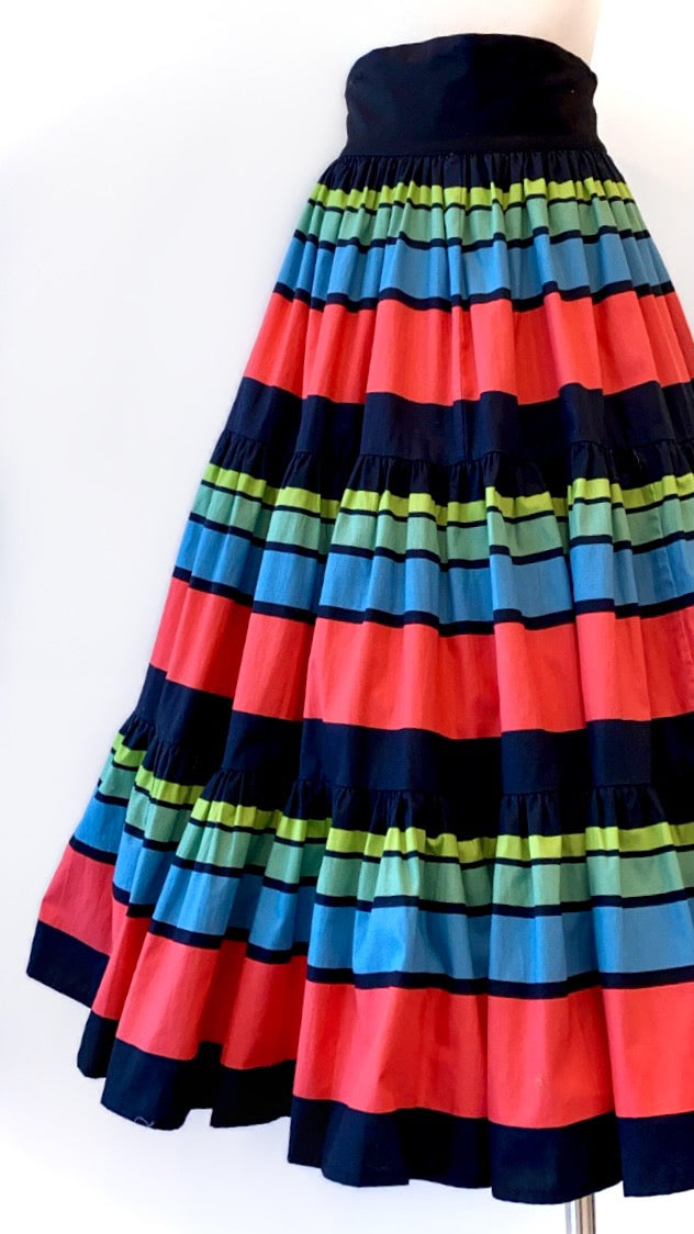 Vintage - Tiered Vibrant Striped Cotton Skirt