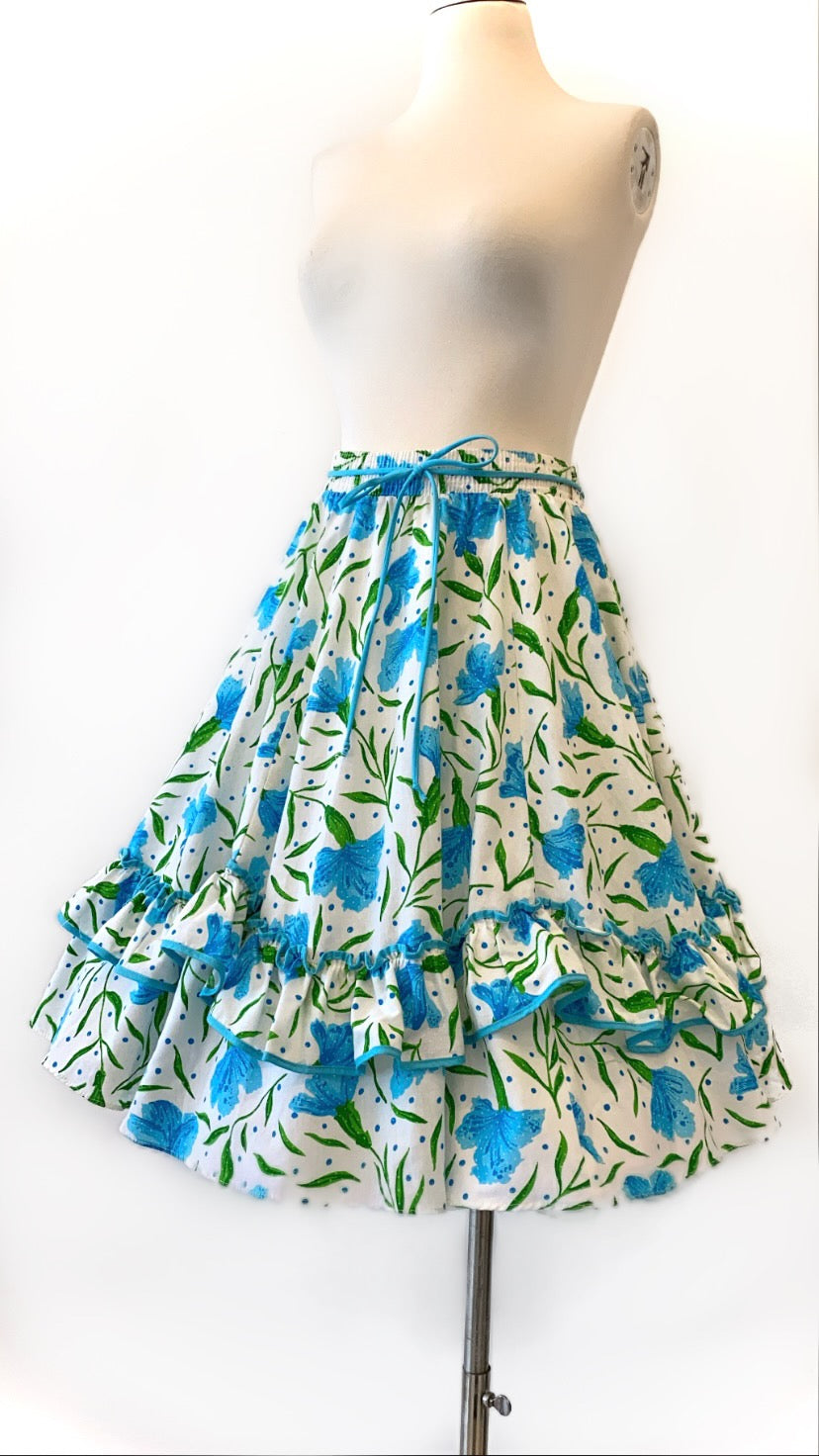 Vintage - Floral Print Ruffle Skirt with Rope Tie