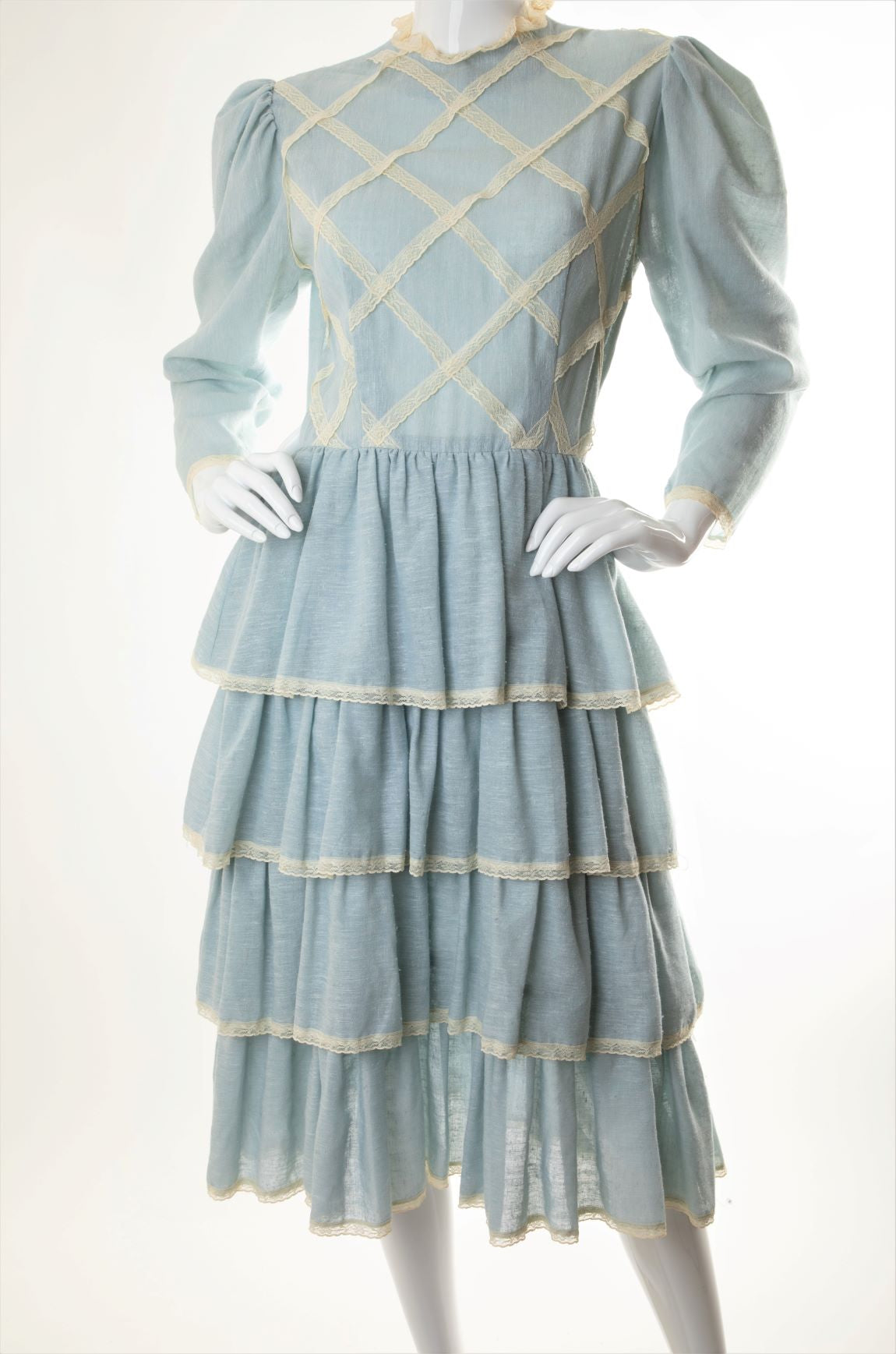 Vintage - Tiered Ruffled Dress with Lace Lattice Trim