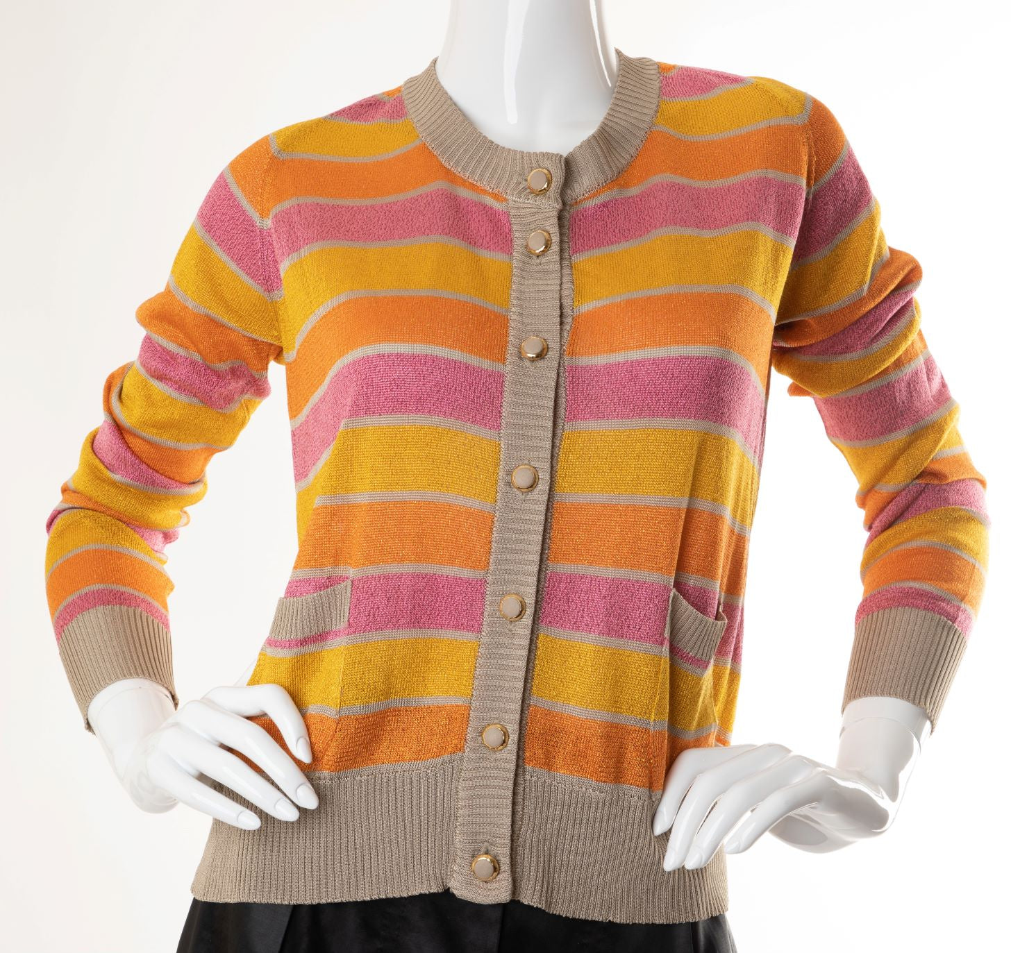 Dolce & Gabbana - Sparkle Lurex Striped Button-Down Cardigan