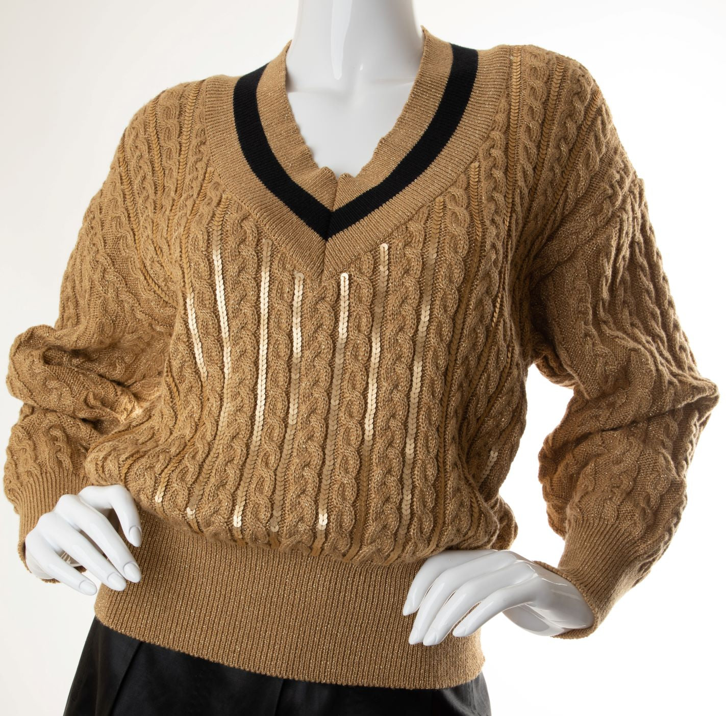 Escada - Metallic Cable Knit Sweater with Sequin Embellishment