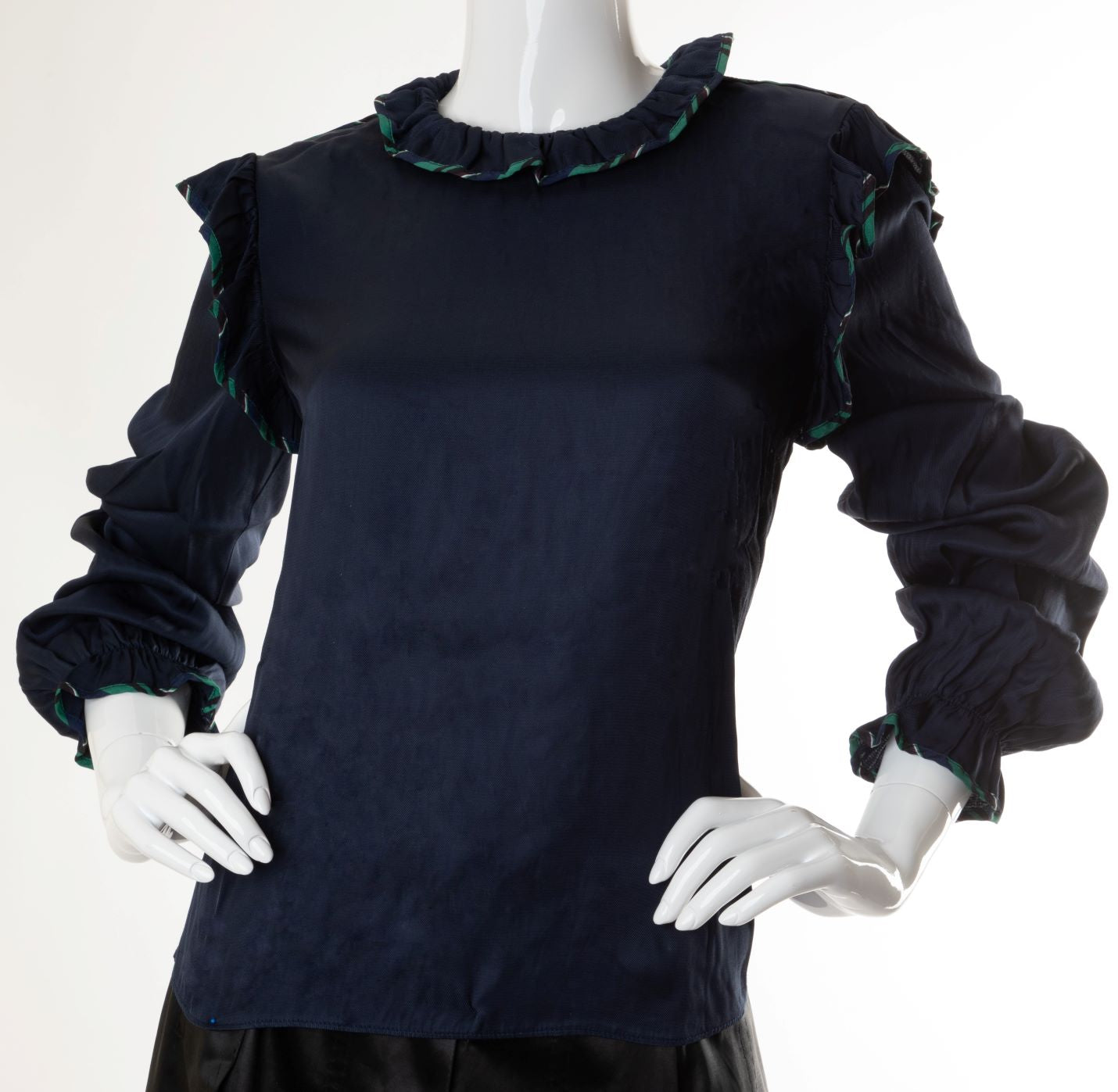 Opening Ceremony - Silky Top with Contrast Trimmed Ruffles