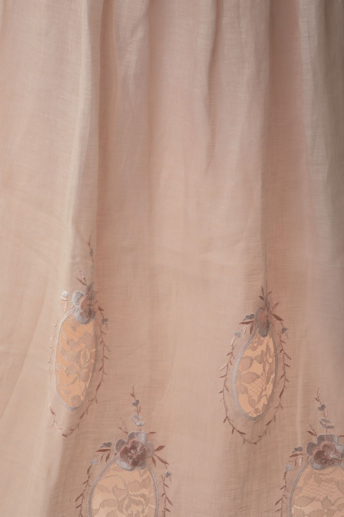 Vintage - Linen Midi Skirt with Embroidered Motifs
