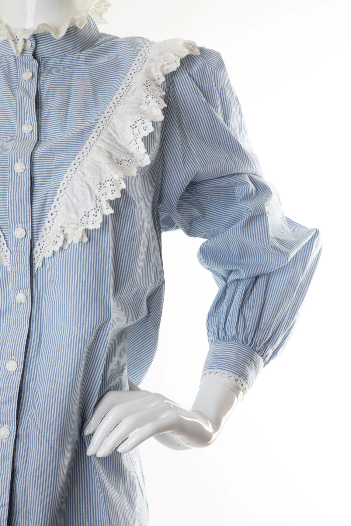 Vintage - Striped Ruffled Button Down Blouse