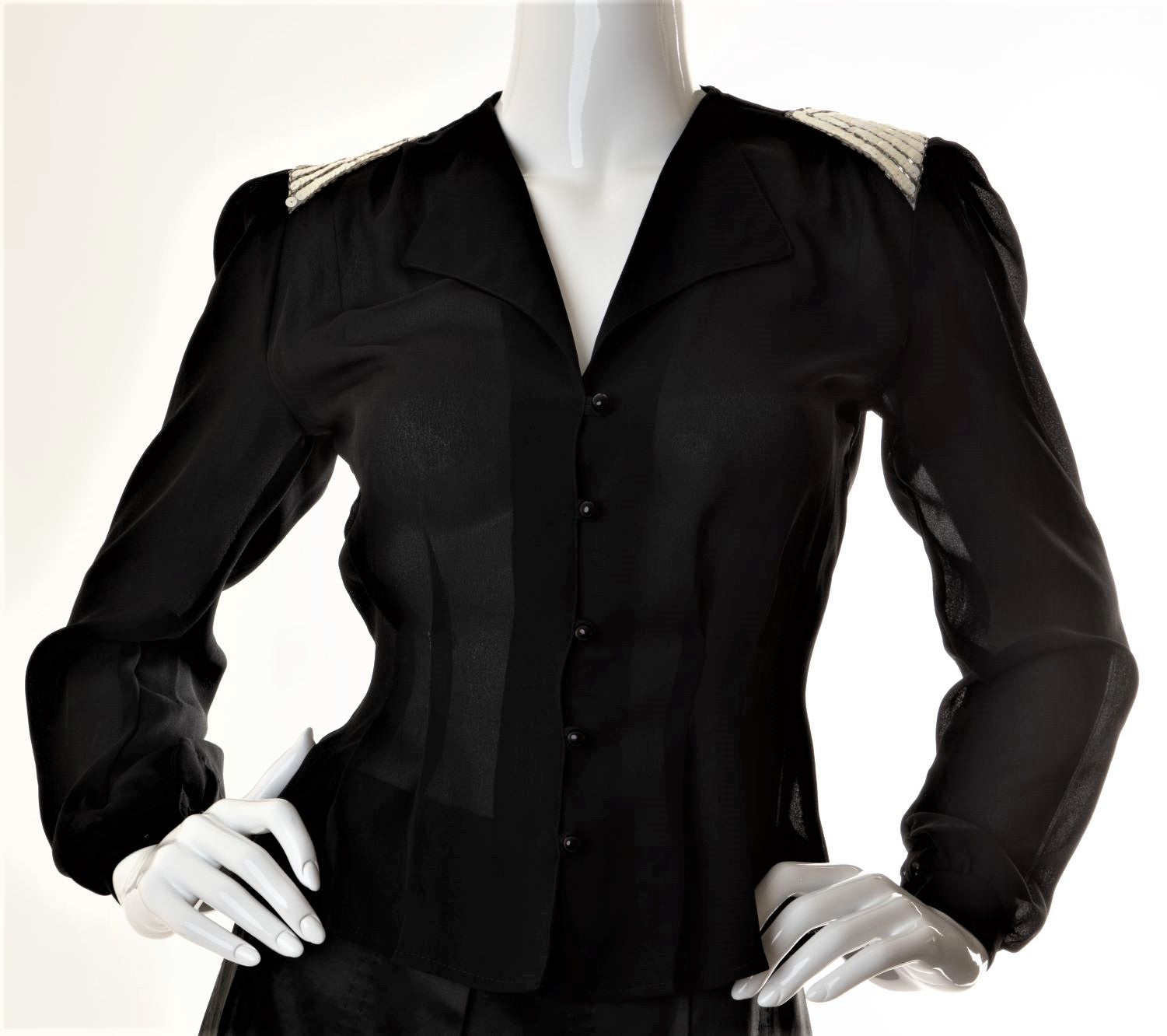 Vintage - Chiffon Button Down Blouse with Sequined Shoulders