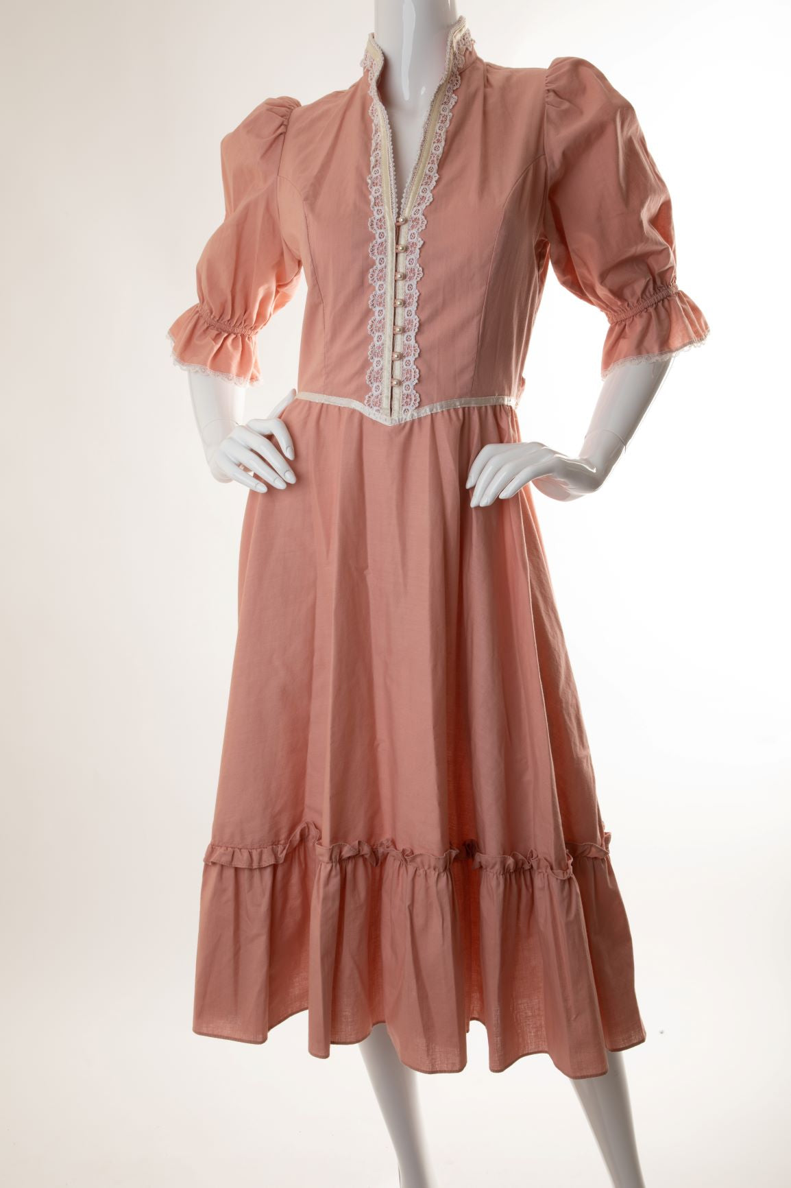 Vintage - Prairie Ruffle Dress with Lace Trim and Sash