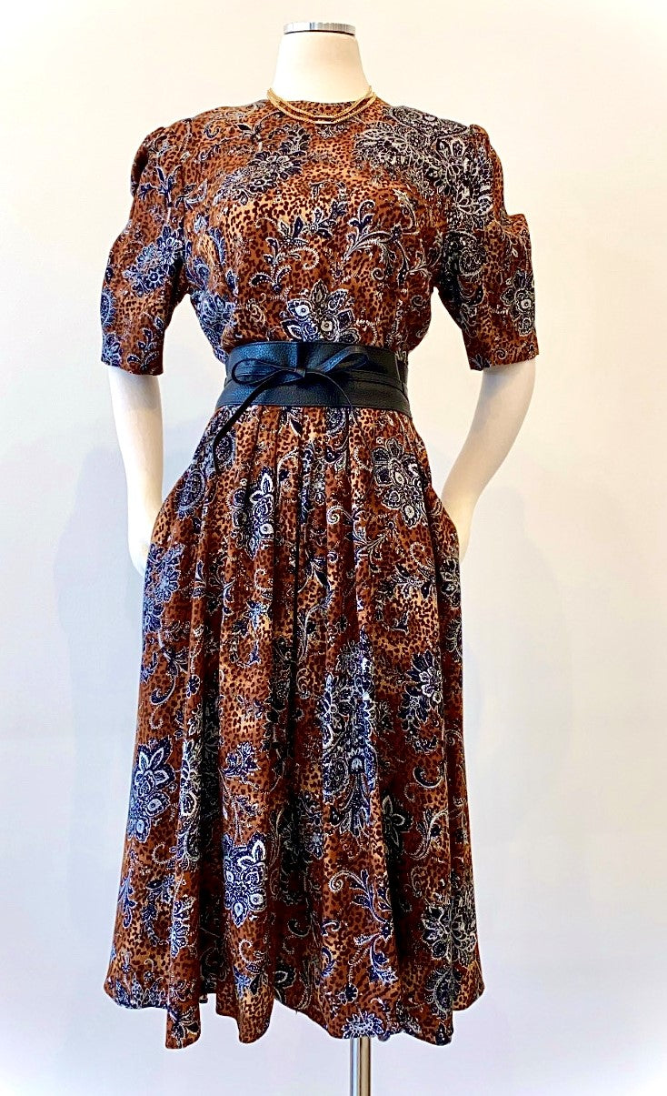 Vintage - Leopard and Paisley Print Dress