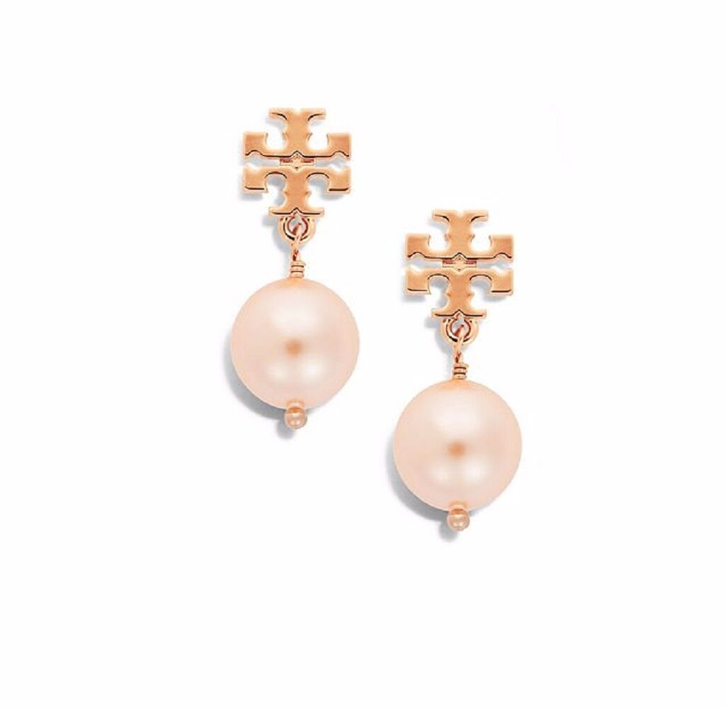 Tory Burch - Blush Pearl Earring with Rose-Gold Logo