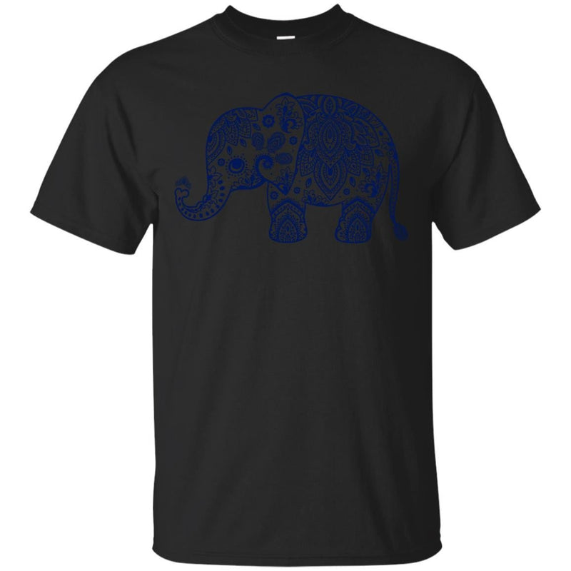 CUTE ANIMALS - Navy Blue Vintage Paisley Elephant Illustration T Shirt & Hoodie (1)