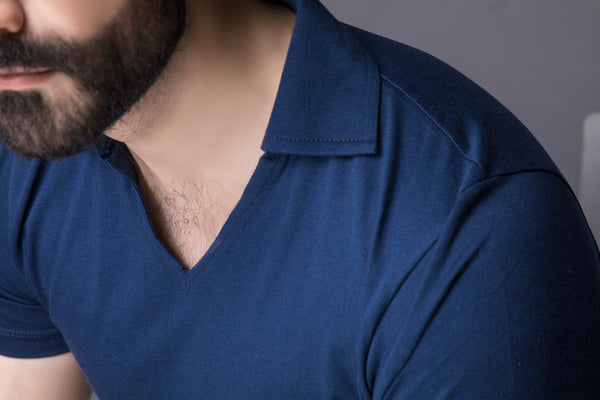 Imperial Blue Open Collar Polo