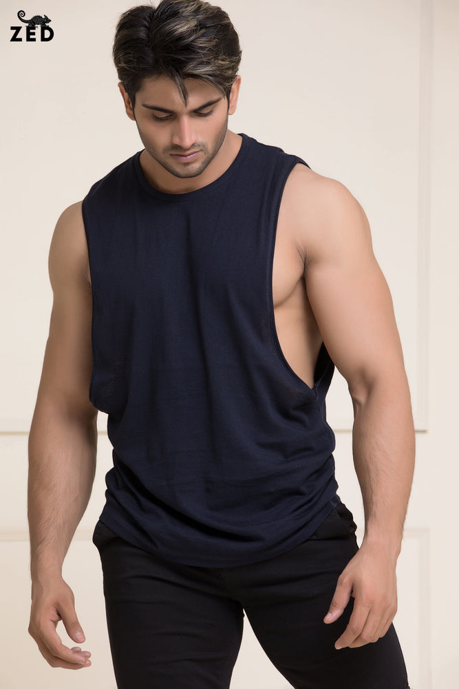 Navy Blue Deep Dropped Armhole