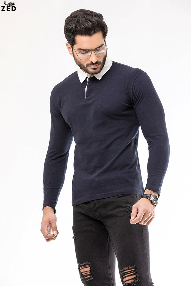 Navy Blue With White Contrast Rugby Polo