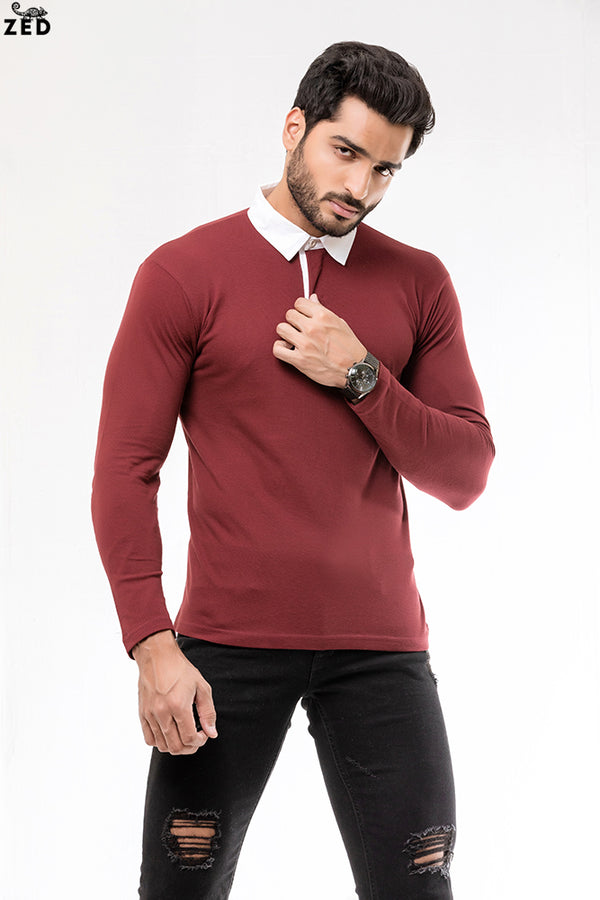 Maroon With White Contrast Rugby Polo