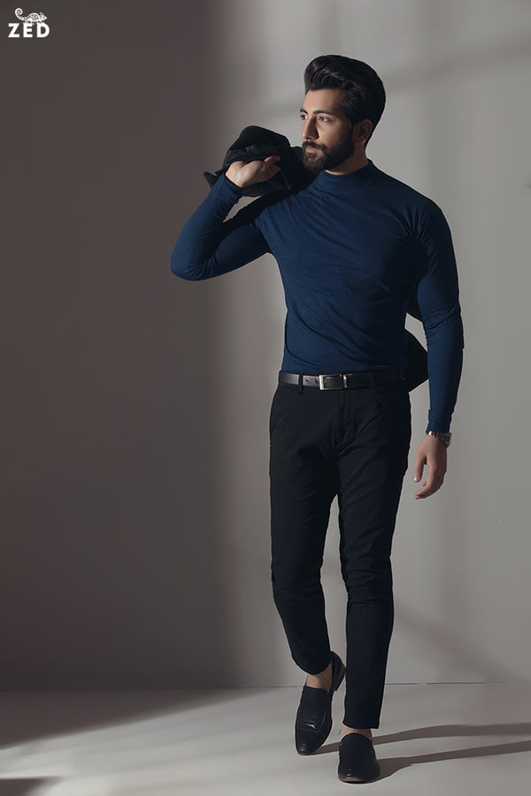 Imperial Blue Full Sleeves Mock Neck