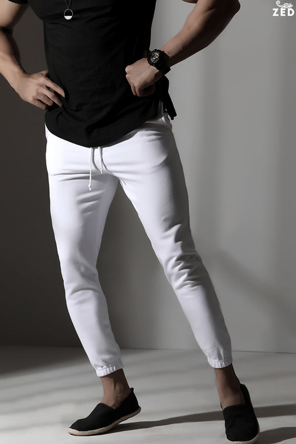 White Cuffed Sweat Pants
