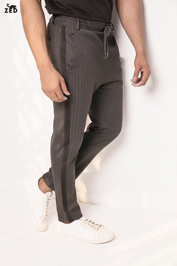 Charcoal Striped Ankle Pants With Drawstring Waist