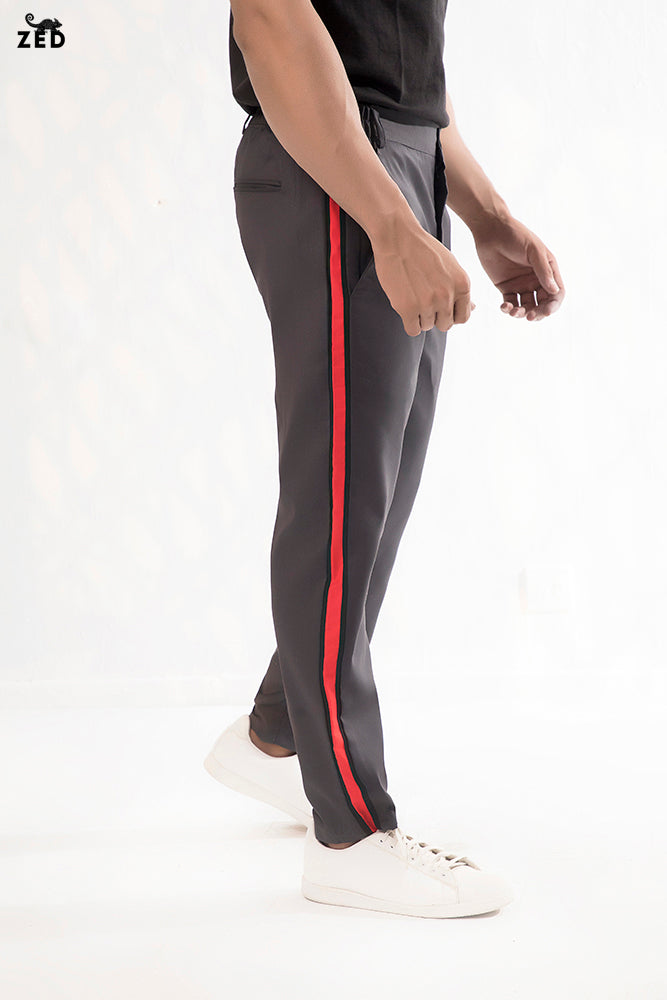 Charcoal With Red and Black Striped Pants