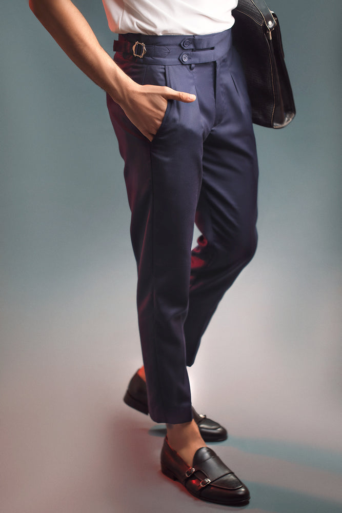 Navy Blue Two Buttoned Gurkha Trousers