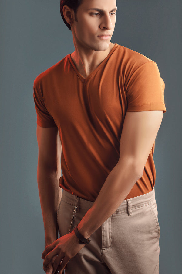 Tan Half Sleeve V Neck