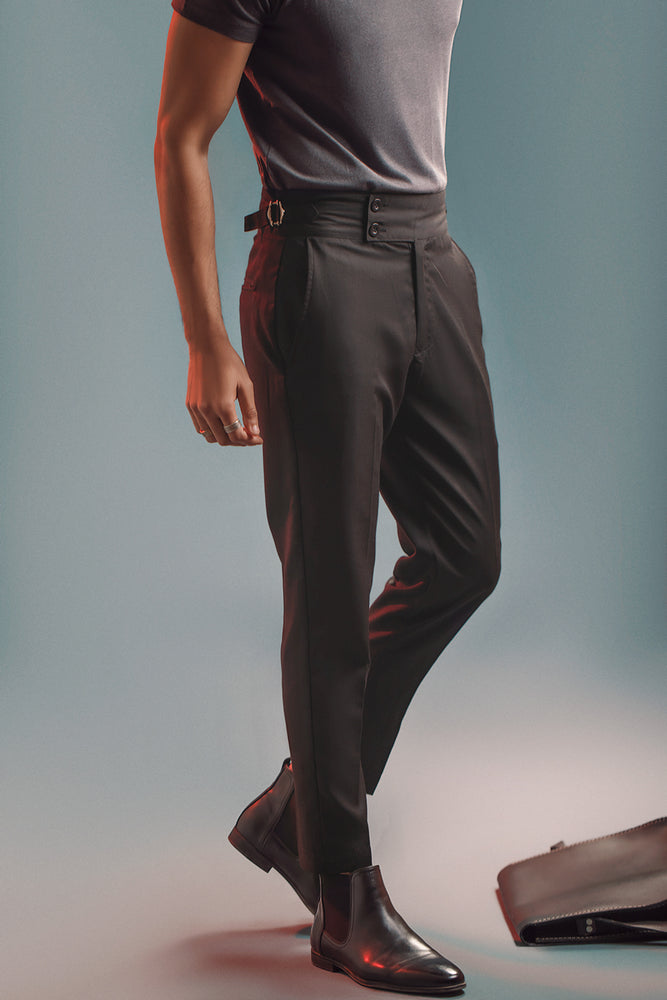 Black Two Buttoned Gurkha Trousers