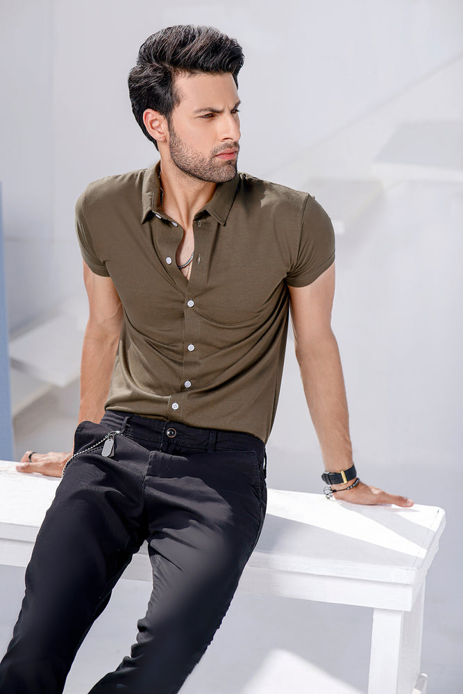 Khaki Half Sleeves Jersey Shirt