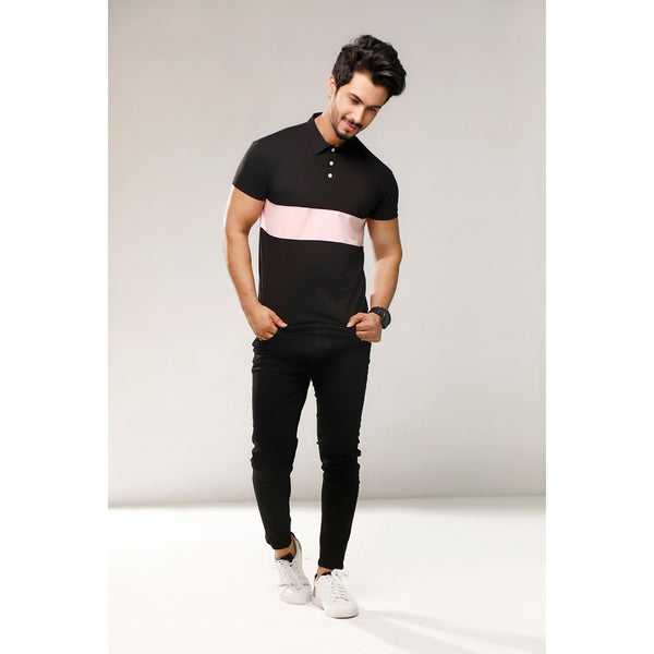 Black With Pink Color Block Polo
