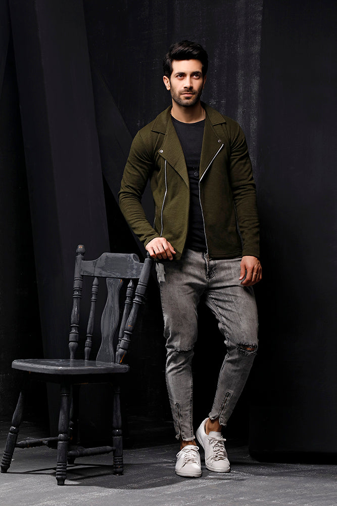 Dark Green Fleece Biker Jacket