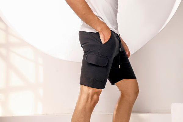 Black Sweat Shorts With Cargo Pockets