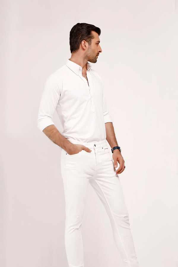 White High Collar Mid Placket Shirt