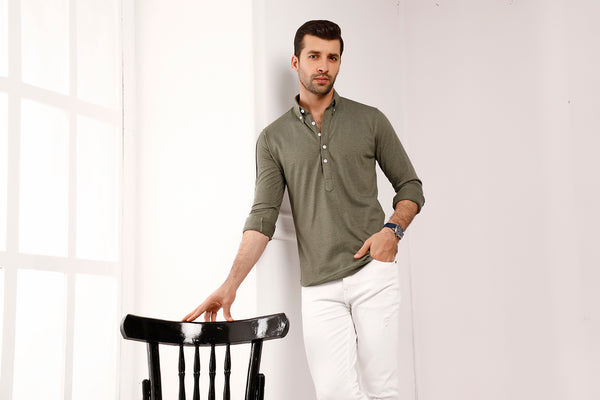 Olive High Collar Mid Placket Shirt
