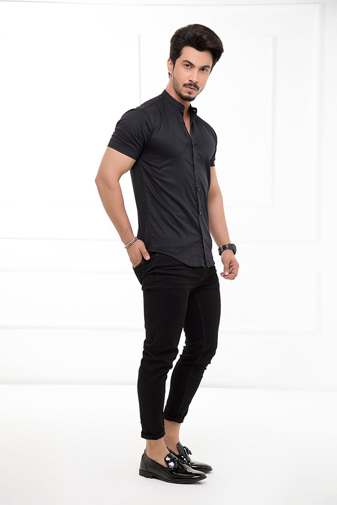 Black Grandad Collar Half Sleeves Shirt