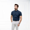 Navy Blue Oxford Collar Half Sleeves Shirt