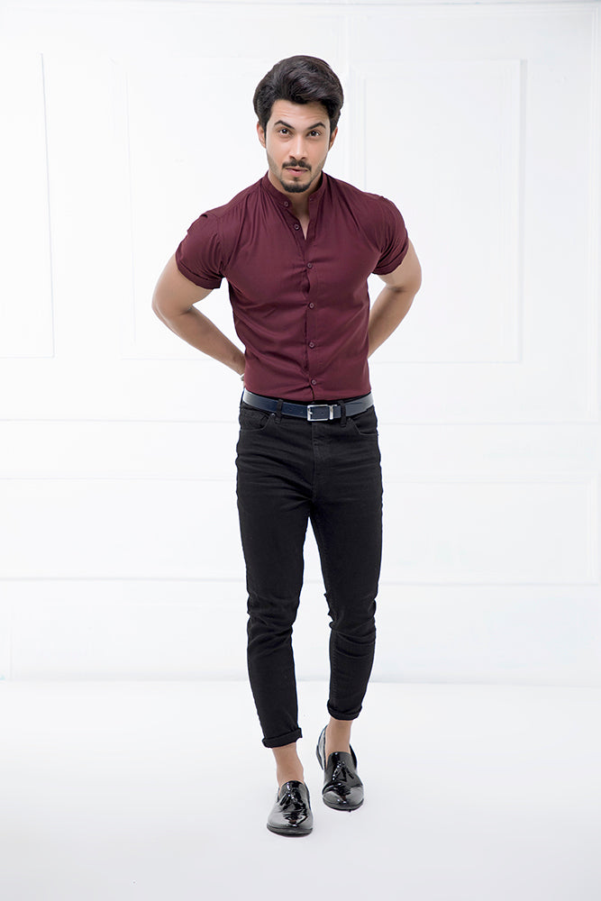 Maroon Grandad Collar Half Sleeves Shirt