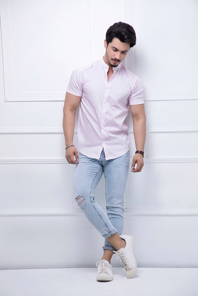 Pink Grandad Collar Half Sleeves Shirt