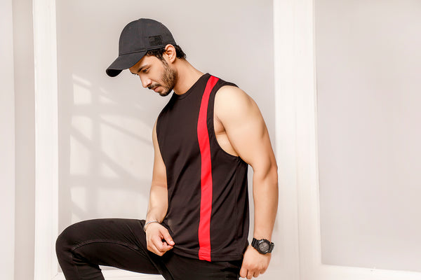 Black With Red Striped Dropped Armhole