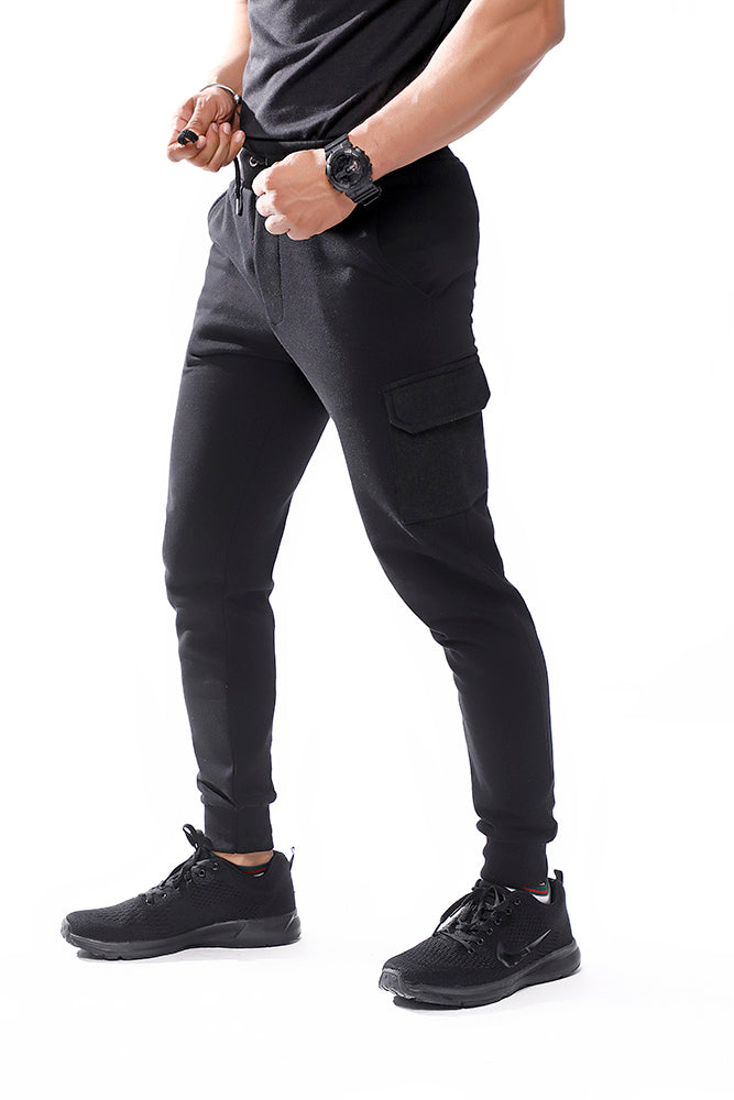 Black Skinny Joggers With Cargo Pockets