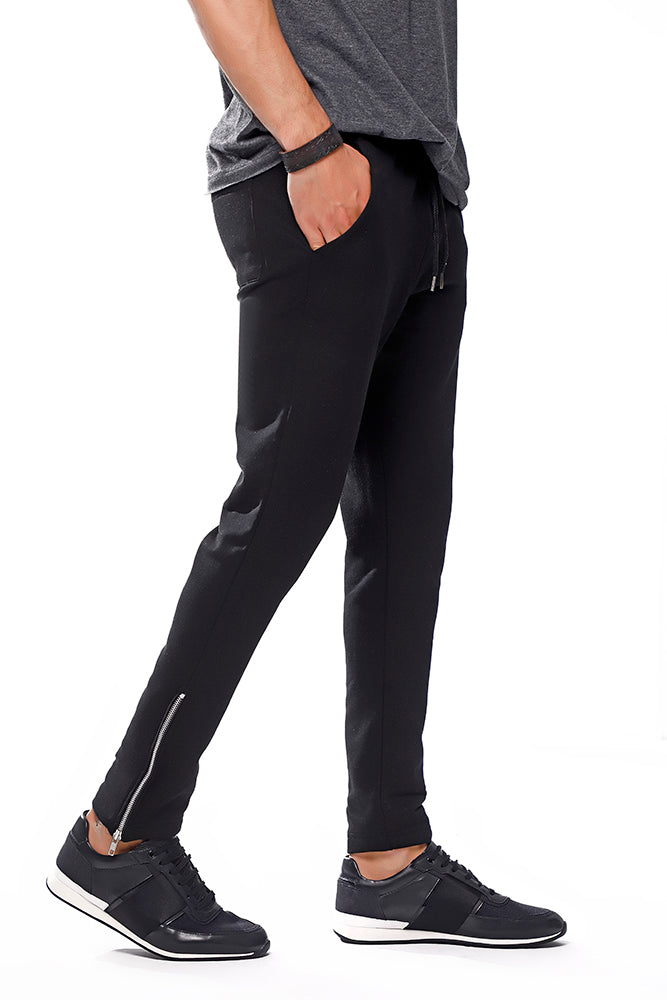 Black Skinny Joggers With Silver Zip Cuffs