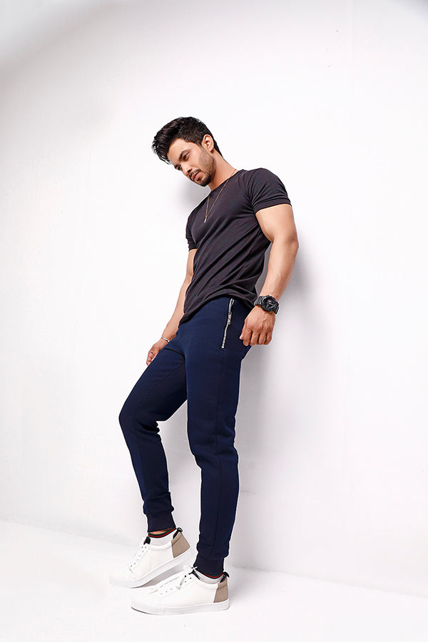 Navy Blue Skinny Pocket Zip Joggers