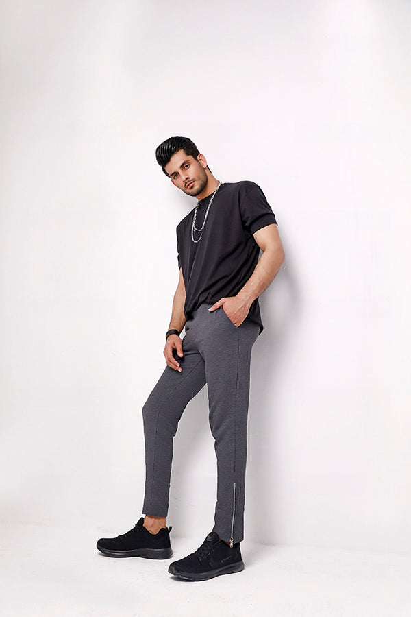 Charcoal Skinny Joggers With Silver Zip Cuffs