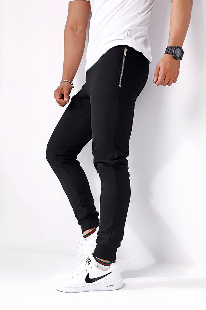 Black Skinny Pocket Zip Joggers