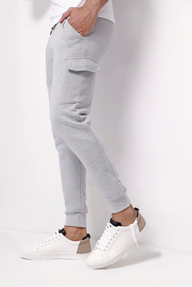 Heather Grey Skinny Joggers With Cargo Pockets