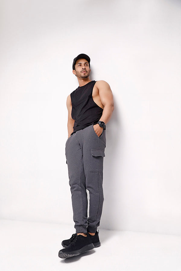 Charcoal Skinny Joggers With Cargo Pockets