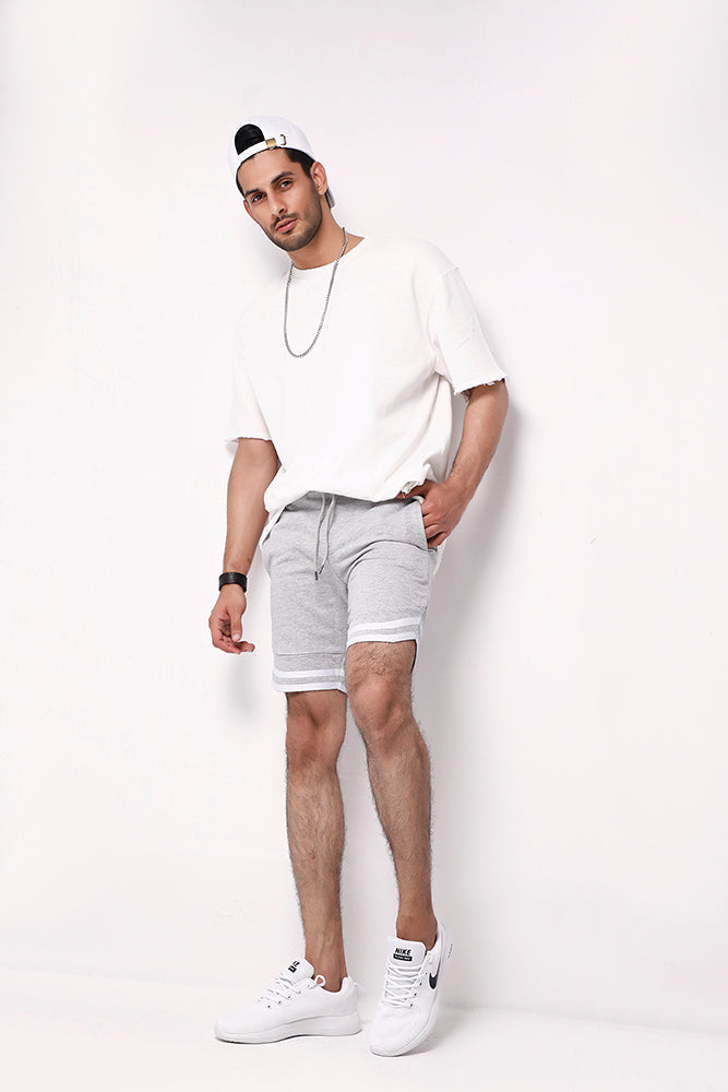 Heather Grey Sweat Shorts With Tape