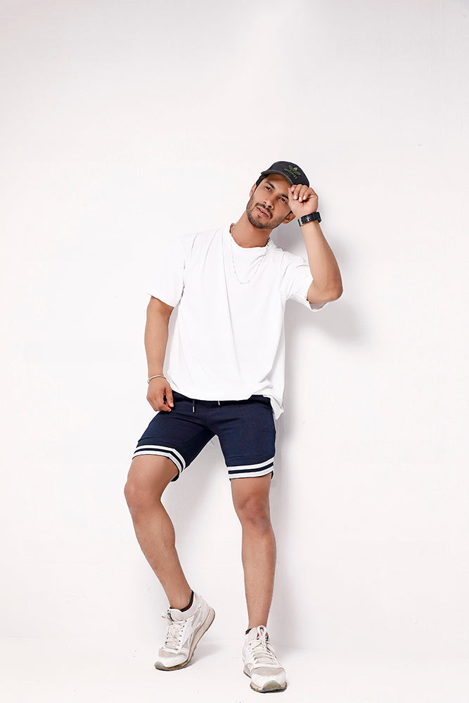 Navy Blue Sweat Shorts With Tape