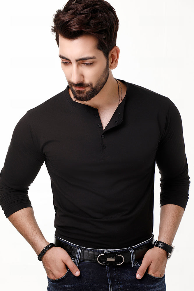 Black Full Sleeves Henley