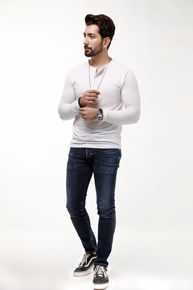 White Full Sleeves Henley