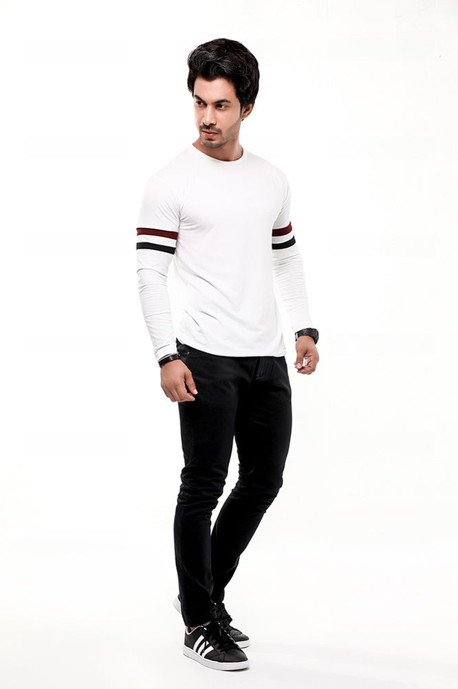White Contrast Full Sleeve Stripe T-Shirt