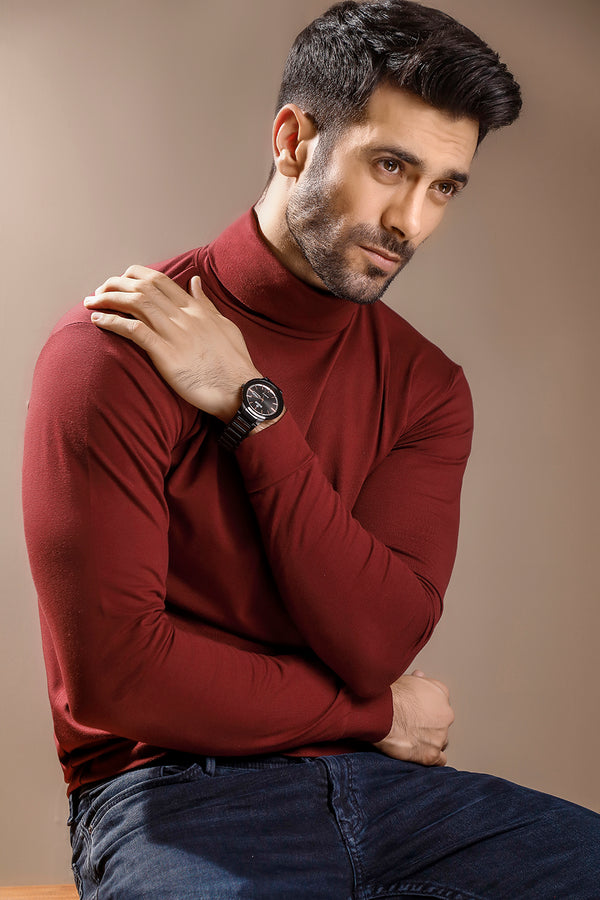 Maroon Full Sleeves Turtle Neck