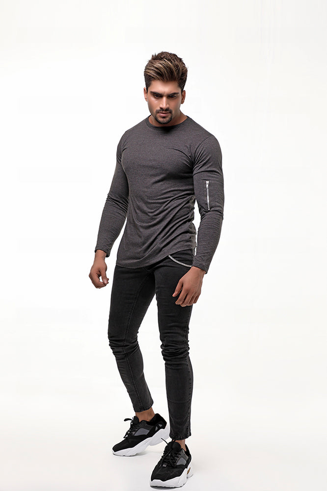 Charcoal Long Sleeves MA-1 Zip Sleeve Pocket