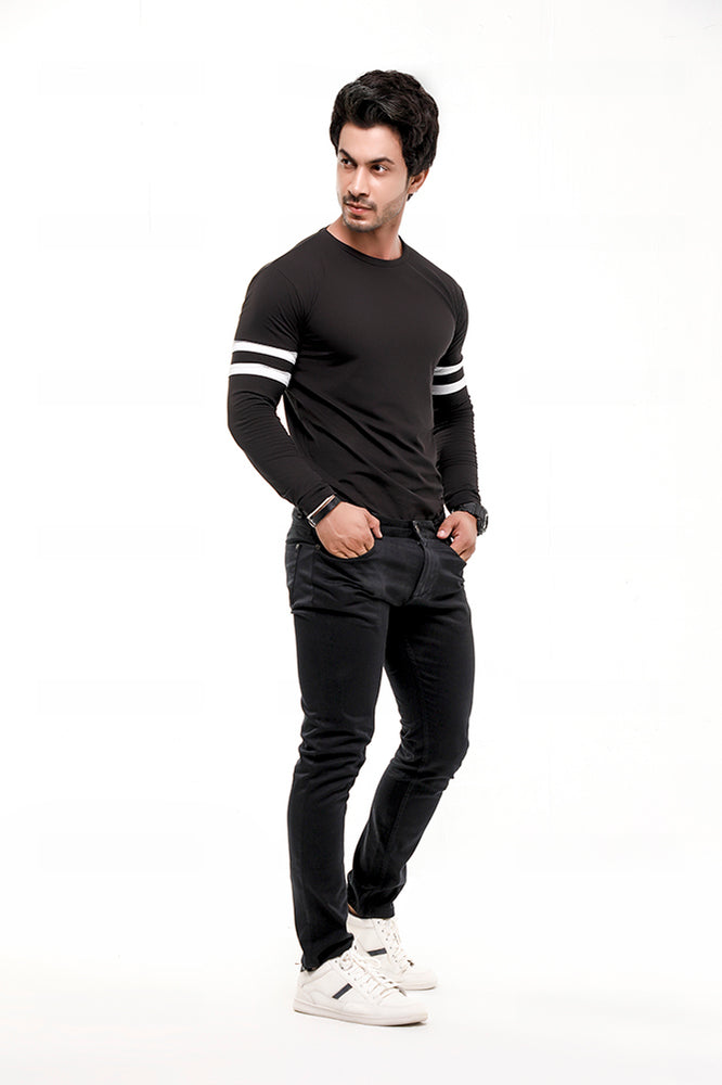Black Contrast Full Sleeve Stripe T-Shirt